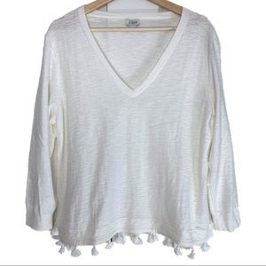 J Crew Cotton, Acrylic Blend Tassel V Neck Top